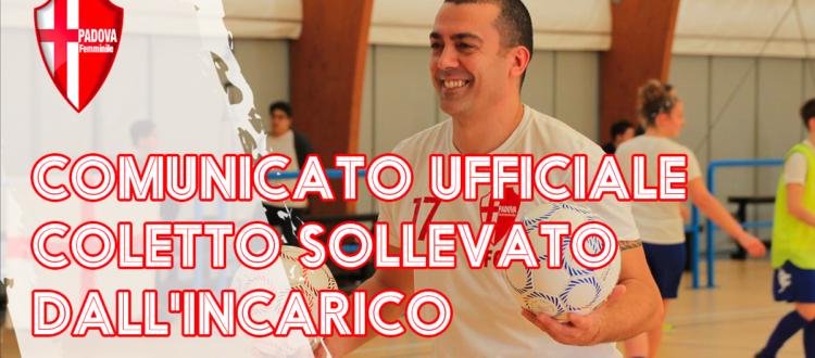 Esonero Fabio Coletto